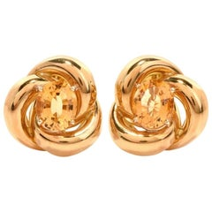 Vintage Retro Citrine 18 Karat Yellow Gold Swirl Design Clip-Back Earrings