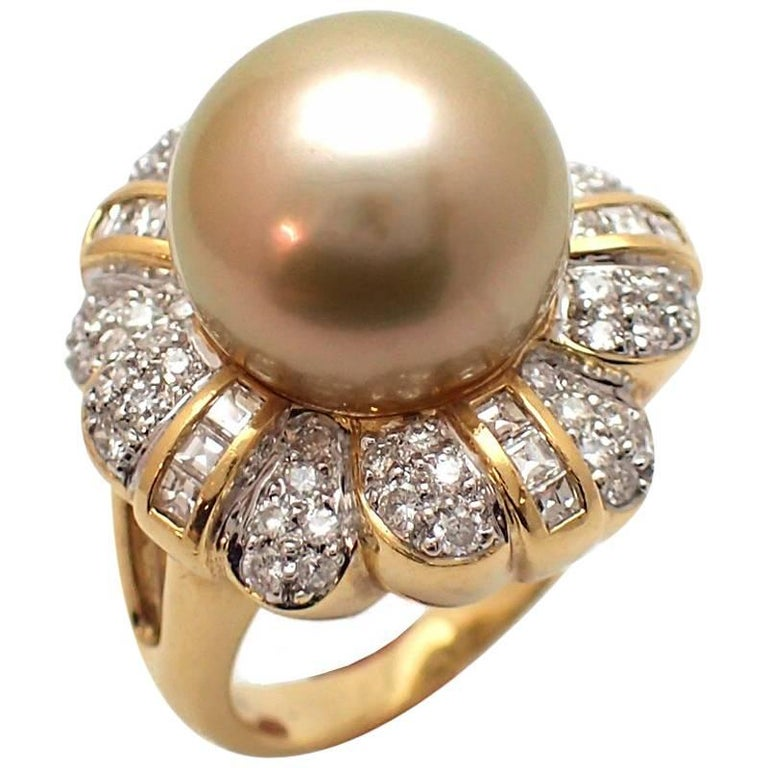 Golden South Sea Pearl and Diamond Ring at 1stdibs