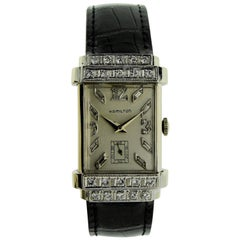 Hamilton White Gold Diamond Art Deco Top Hat Tank Style Watch