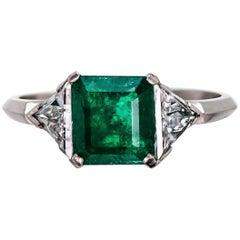 Platinum Emerald Diamond Ring, circa 1930
