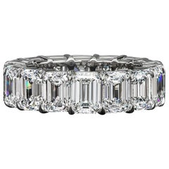 David Rosenberg GIA Certified Emerald Cut 15.41 Carats Diamond Eternity Band