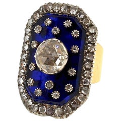 Antique Victorian Rose Cut Diamond Blue Glass Panel Gold Ring