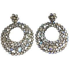 Moonstone and Blackened Silver Large Dangling Hoop Earrings