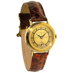 Tiffany & Co. Yellow Gold Art Deco Unusual Gold Dial Manual Watch, 1930s