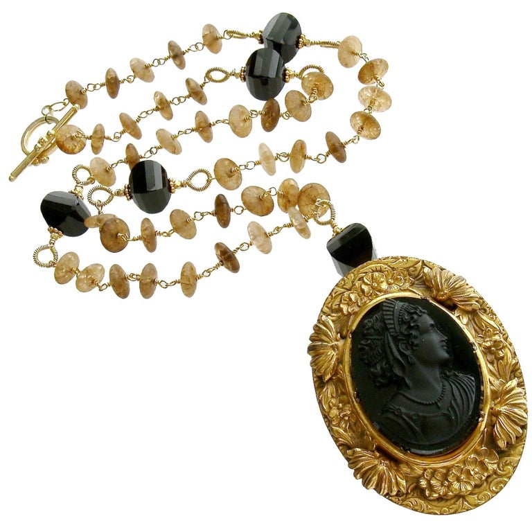 Amber Quartz Onyx Necklace Victorian Onyx Cameo Brooch Pendant