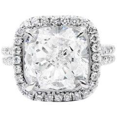 GIA Certified 4.54 Carat Cushion G VS2 Diamond Platinum Pave Halo Ring