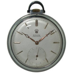 Rolex Stainless Steel High Grade Open Faced Manual Pocket Watch with Chain