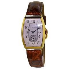 J.W. Benson Yellow Gold Tonneau Shaped Manual Wristwatch, circa 1930s