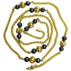 Vintage Hematite and Yellow Gold Beaded Long Chain Necklace