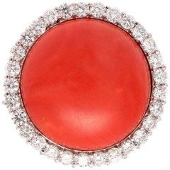 Coral Diamond Gold Ring