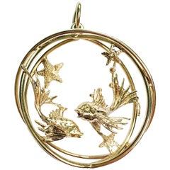 Ruser Pisces Zodiac Gold Pendant
