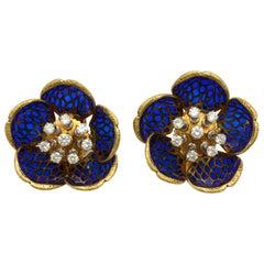 Plique-a-Jour Enamel Gold and Diamond Flower Clip-On Earrings