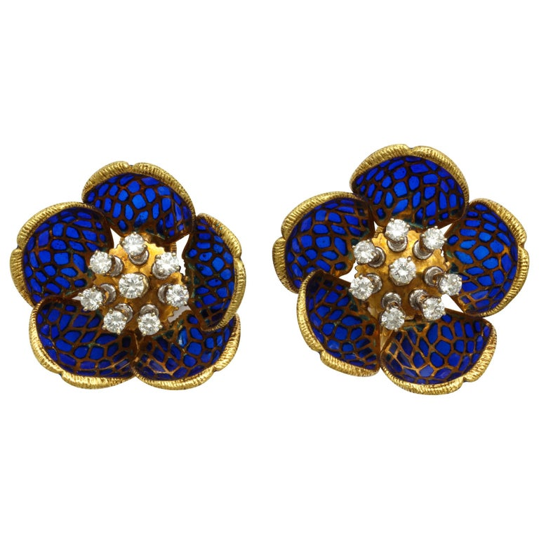 Plique-a-Jour Enamel Gold and Diamond Flower Clip-On Earrings For Sale