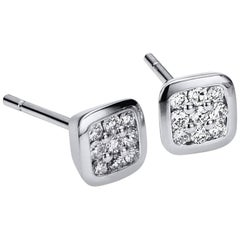 Udozzo, Unisex Ladies Men's 18 Karat White Gold Studs Earrings