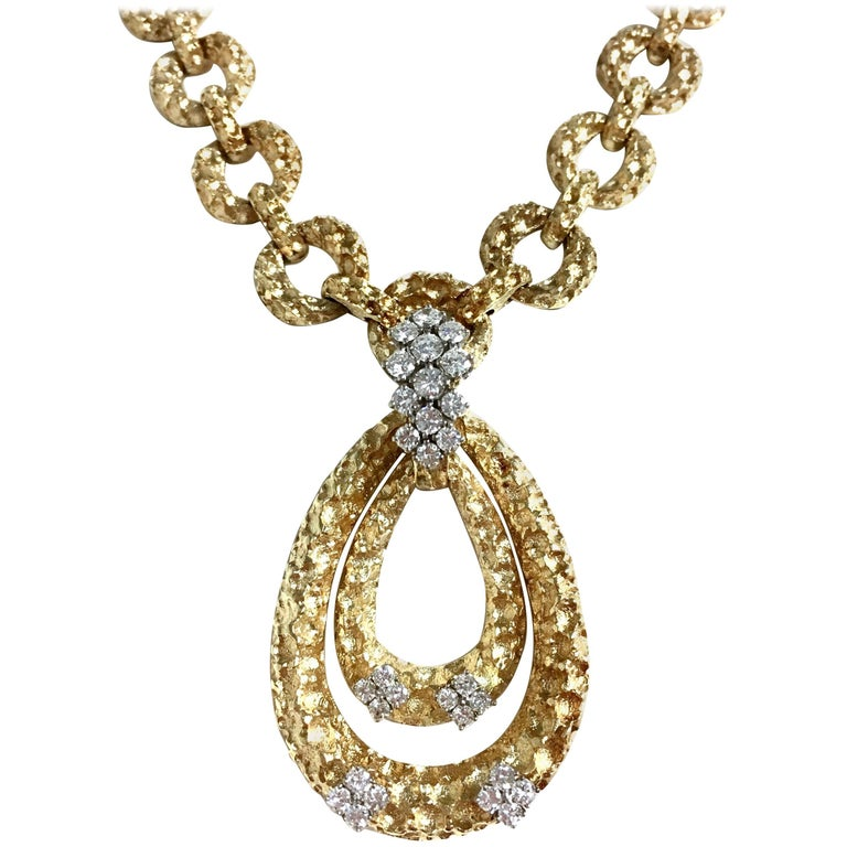 Vintage Diamond and Yellow Gold Pendant Enhacer Necklace