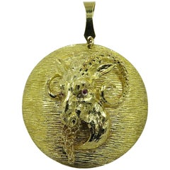 Gold and Ruby Ram Pendant