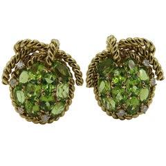 Pair of Peridot, Diamond and Gold Earrings
