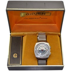 Gruen Stainless Steel New Old Stock World Time Watch, 1960s