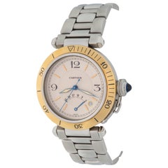 Cartier Pasha Mens Yellow Gold Stainless Steel Automatic Wristwatch In Stock