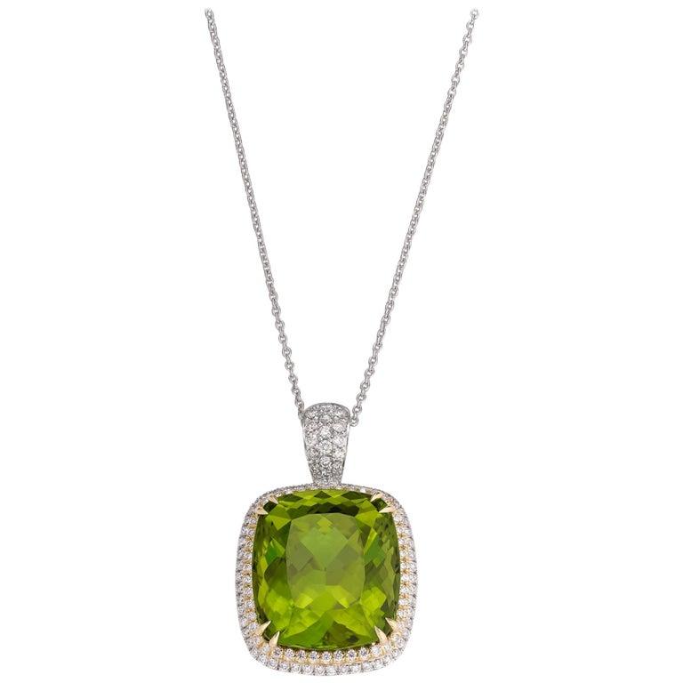 Peridot and Diamond Pendant, 45.60 Carat For Sale