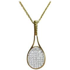 Diamond and Gold Tennis Racquet Pendant Necklace