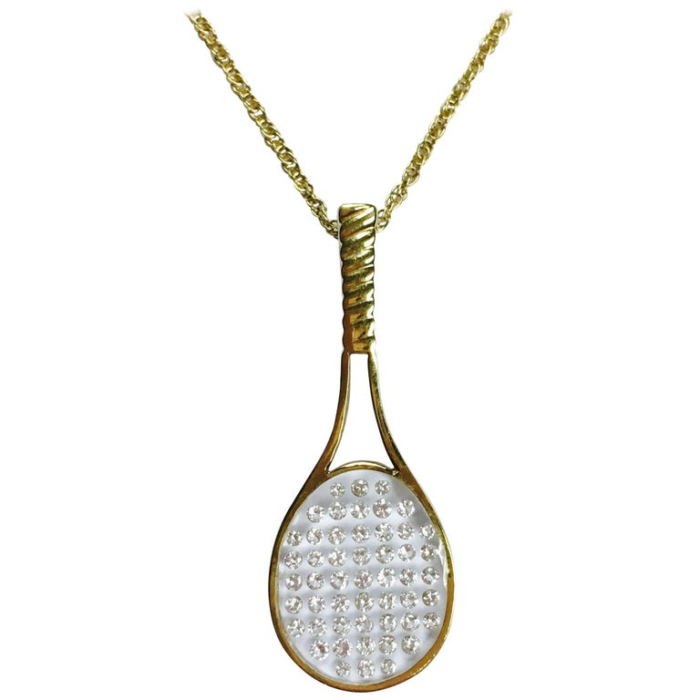 Diamond and gold tennis racquet pendant necklace at 1stdibs diamond and gold tennis racquet pendant necklace for sale aloadofball Images