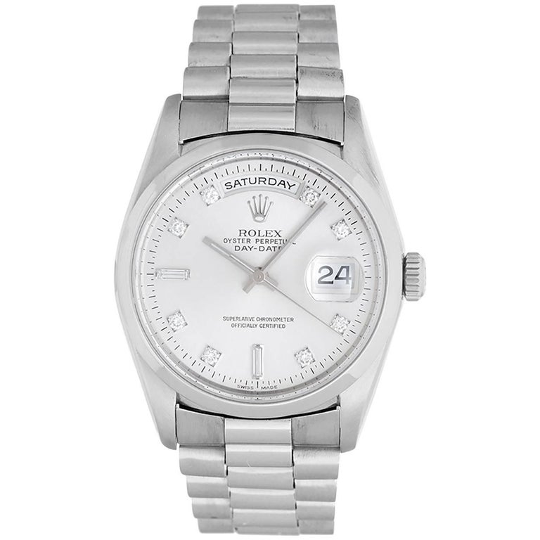 Rolex Platinum President Day-Date Automatic Wristwatch Ref 18206