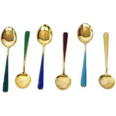 Multi-Color Enameled Norwegian Yellow Gold Plated Sterling Silver Spoon Set