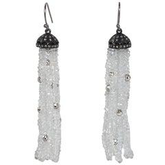 Silver, Diamond and White Topaz Tassel Earrings