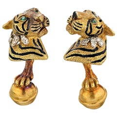 Tiffany & Co. Diamond, Enamel Gold Tiger Cufflinks