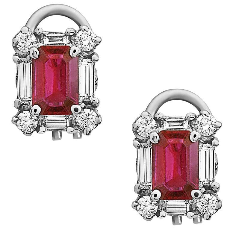 Emilio Jewelry Ruby Diamond Earrings