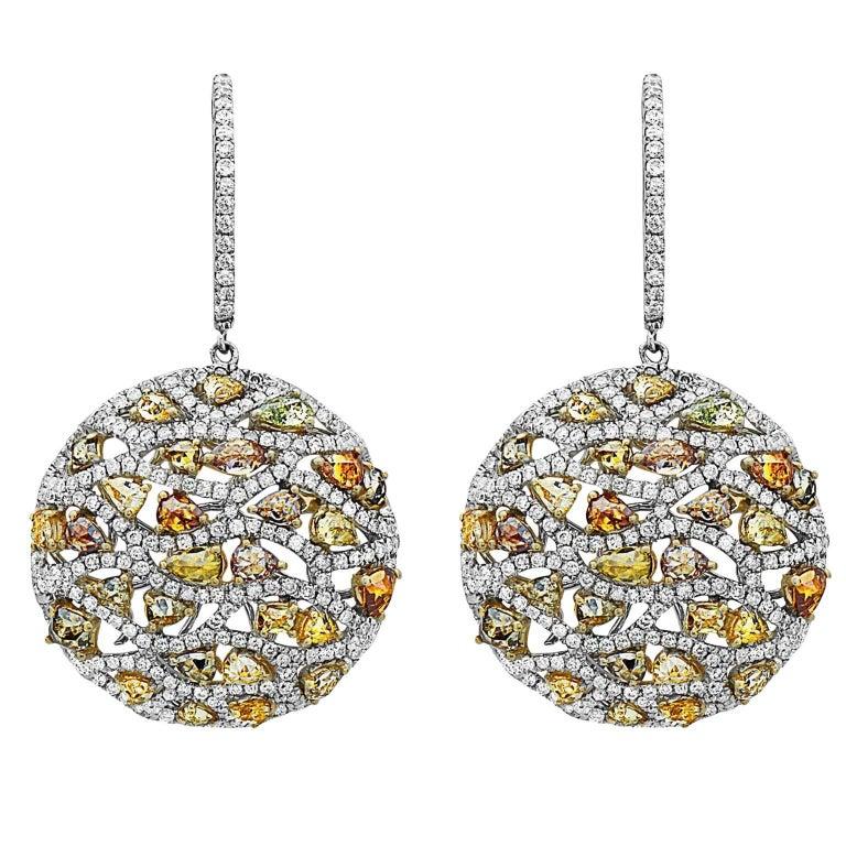 Emilio Jewelry Fancy Colored Diamond Earrings