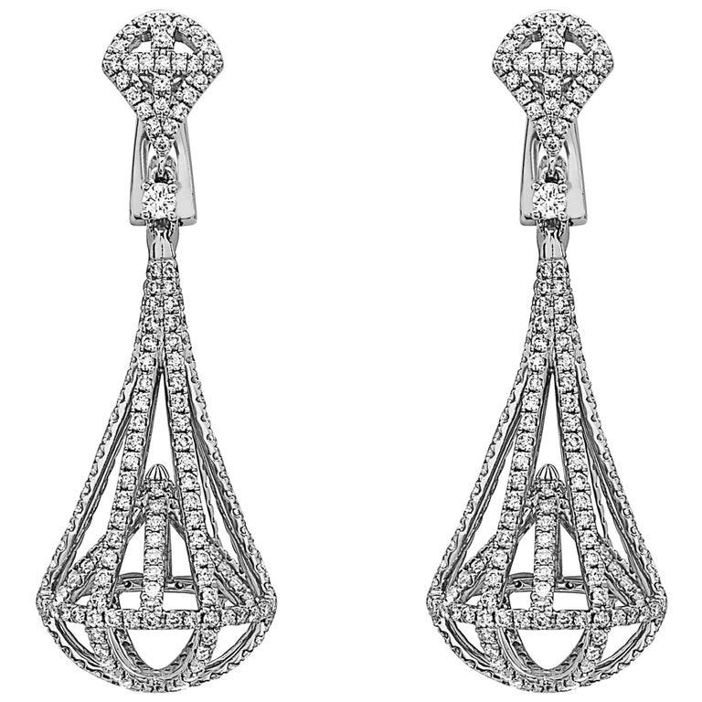 Diamond Lantern  Earrings For Sale
