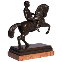 Bronze Statue Horse with Athlete Marble Base