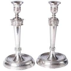Empire Silver Candlesticks, France, 1800