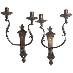 Antique Bronze Two-Light Wall Lights 18th Century