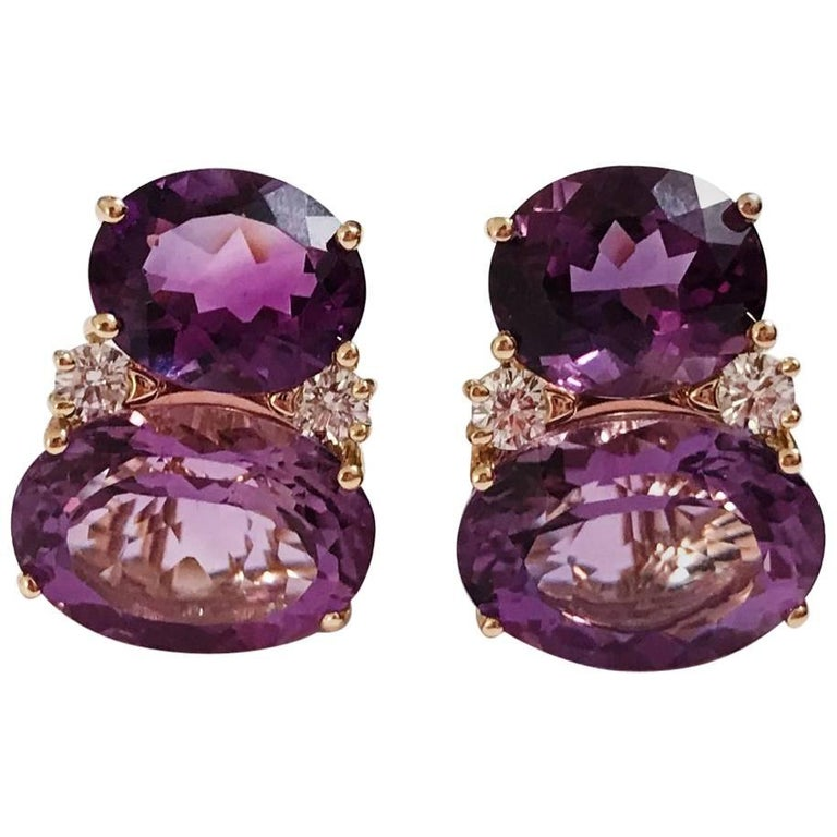 Large Gum Drop Earrings with Two-Toned Amethyst and Diamonds For Sale