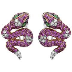 Ruby Diamond Snake Earrings