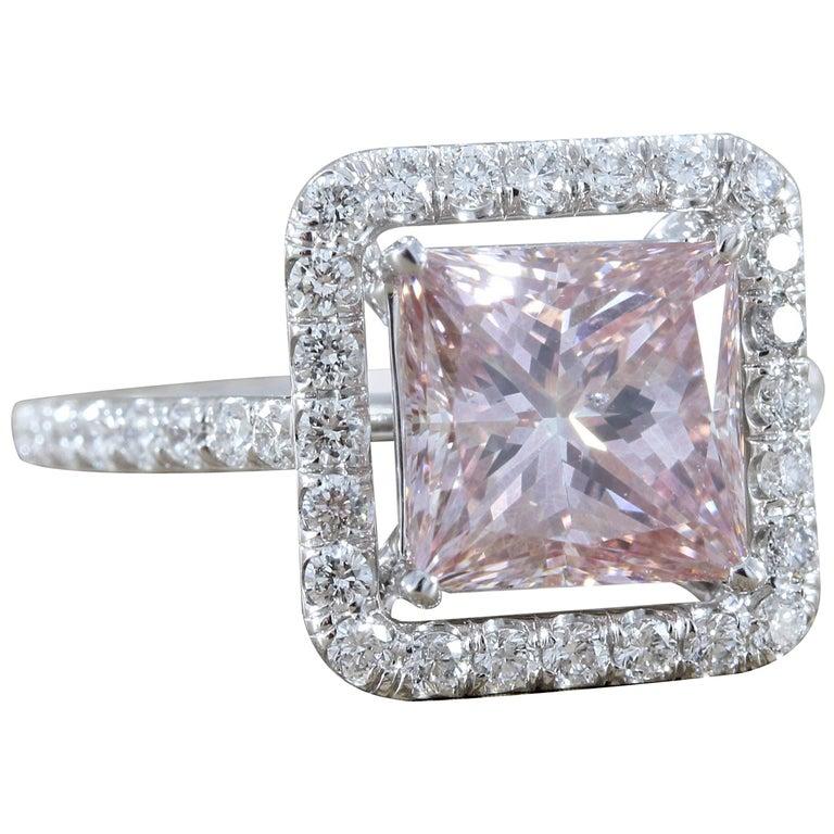 3.02 Carat Pink Diamond Princess Cut Gold Engagement Ring