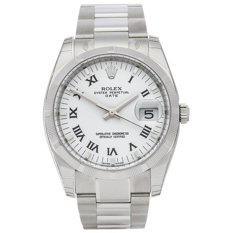 Rolex Stainless Steel Oyster Perpetual Date Automatic Wristwatch Ref 115210 2017