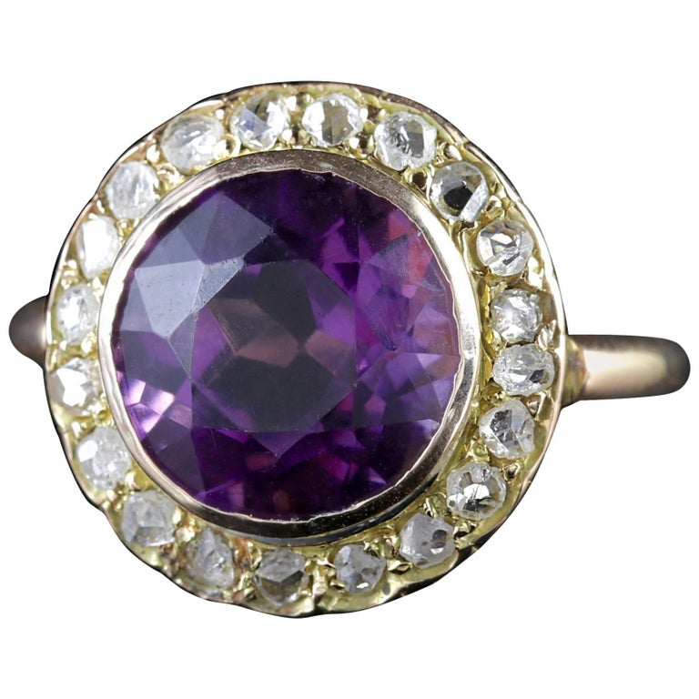 Antique Victorian Amethyst Diamond Cluster Ring 18 Carat Gold
