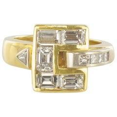 Modern 18 Karat Yellow Gold 1.80 Carat Diamond Ring