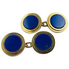 Carlo Weingrill Lapis Lazuli Yellow Gold Round Cufflinks