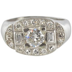 French 1930s Art Deco Platinum White Gold Diamonds Ring