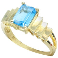 Emerald Cut Blue Topaz with Stepped Shoulders, Engagement or Cocktail Ring