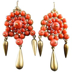Italian Chandelier Earrings with Coral, circa 1900