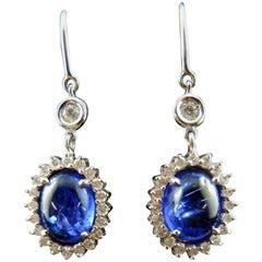 Tanzanites, 5.45 Carat Earrings with Diamonds
