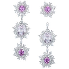 18 Karat White Gold, Pink Sapphire, Morganite and White Diamond Long Earrings