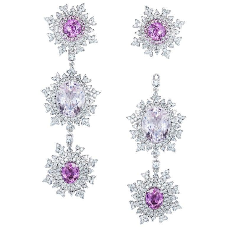 18 Karat White Gold, Pink Sapphire, Morganite and White Diamond Long Earrings