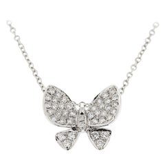 Jona White Diamond Gold Butterfly Pendant Necklace